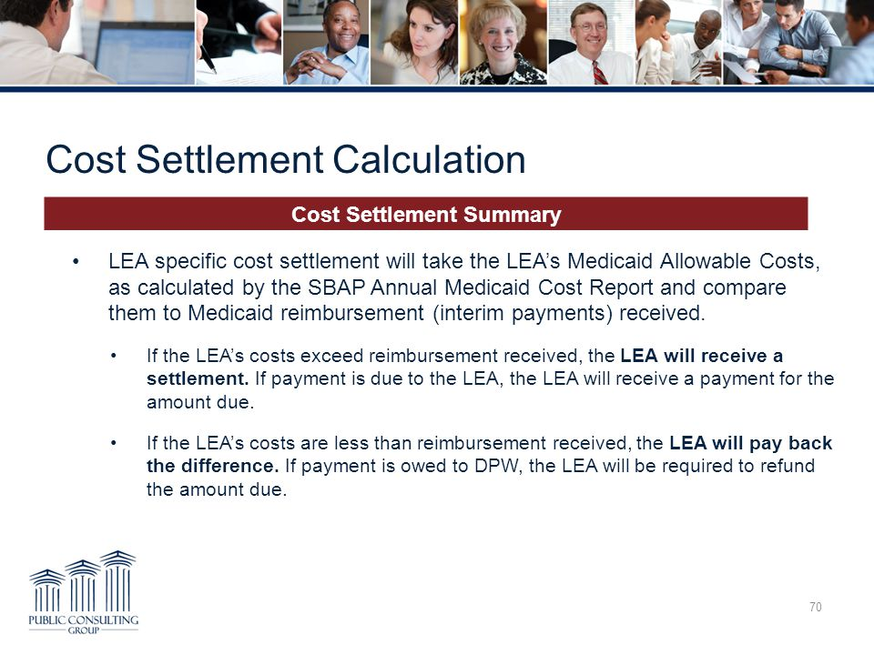 Cost Settlement Calculation