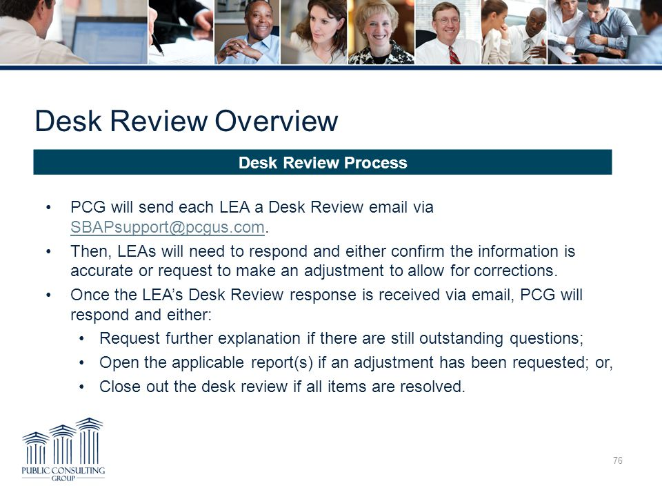 Desk Review Overview Desk Review Process