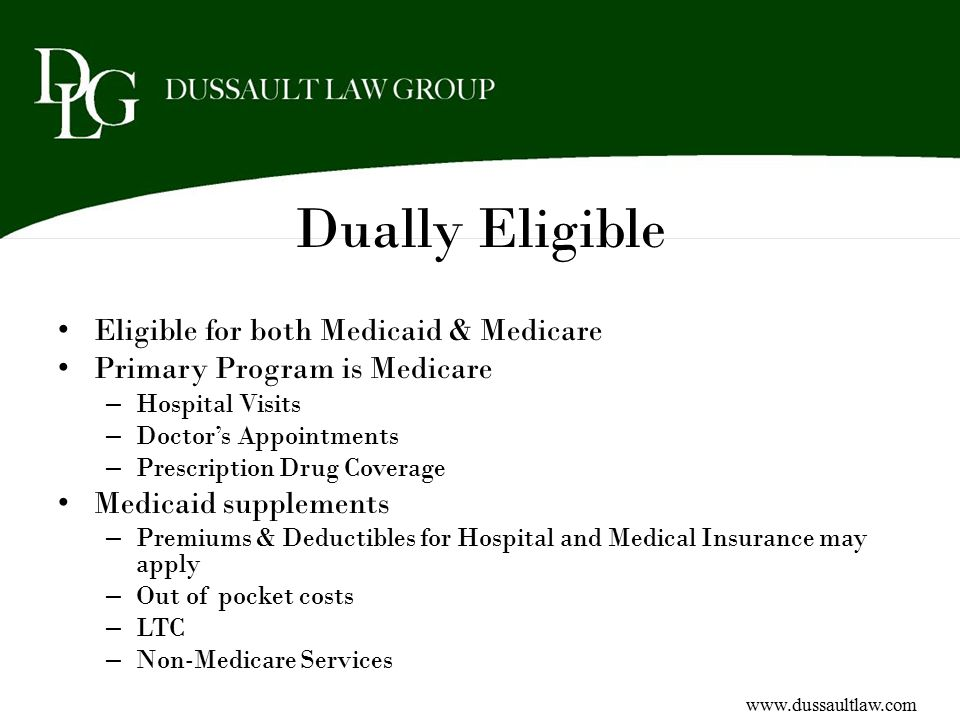 Dually Eligible Eligible for both Medicaid & Medicare