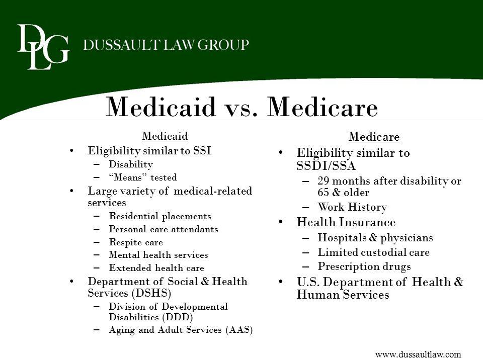 Medicaid vs. Medicare Medicare Eligibility similar to SSDI/SSA