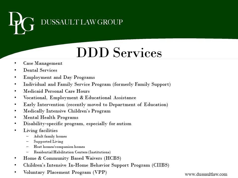 DDD Services Case Management Dental Services
