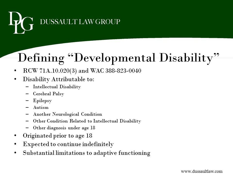 Defining Developmental Disability