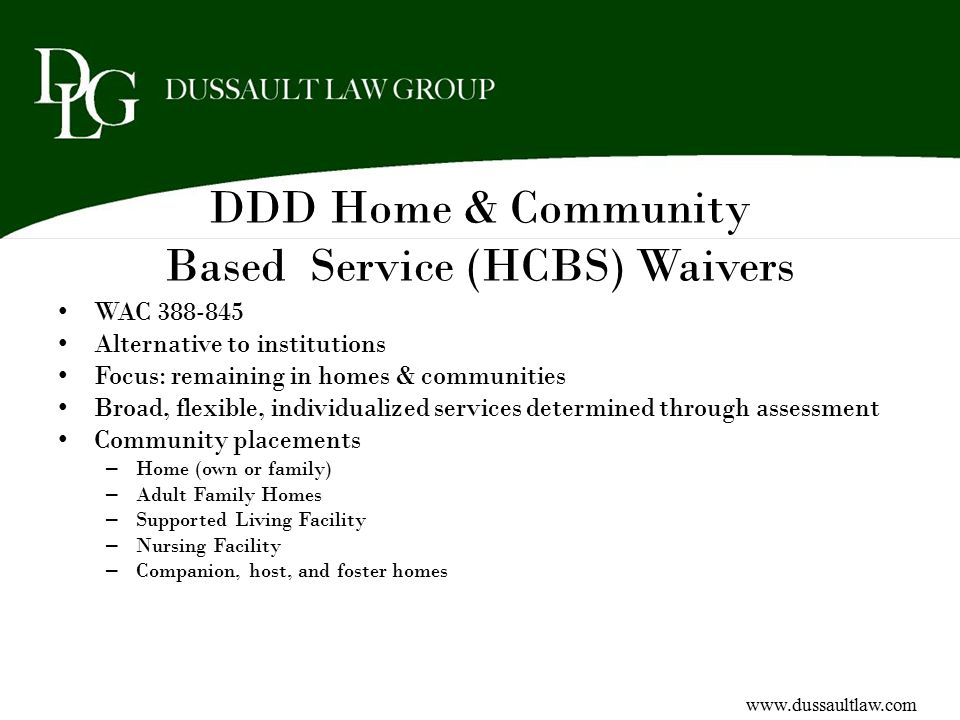 DDD Home & Community Based Service (HCBS) Waivers
