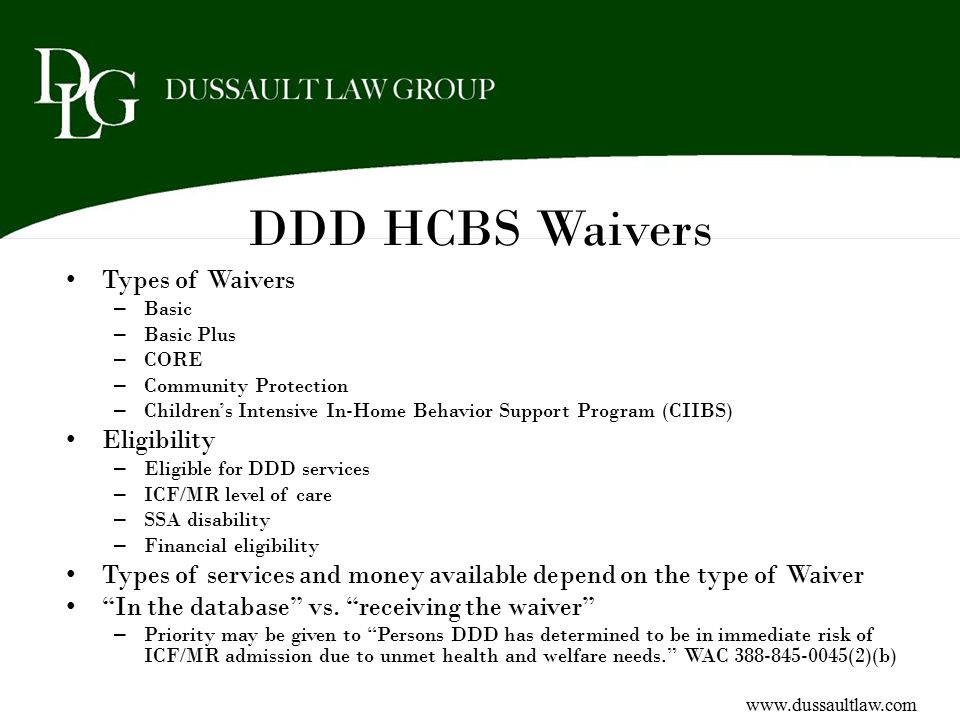 DDD HCBS Waivers Types of Waivers Eligibility