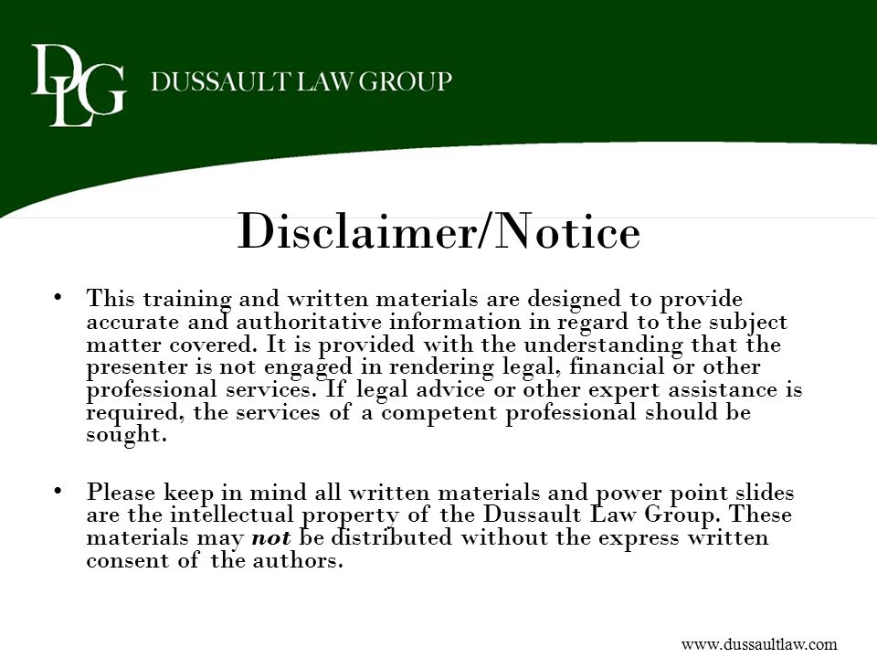 Disclaimer/Notice