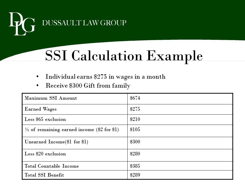 SSI Calculation Example