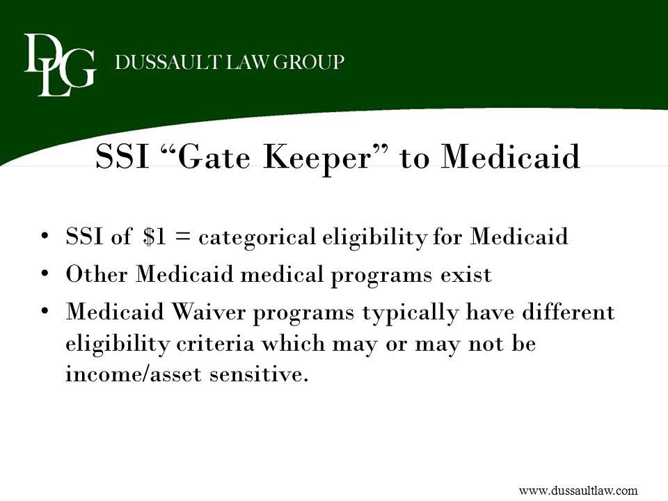 SSI Gate Keeper to Medicaid