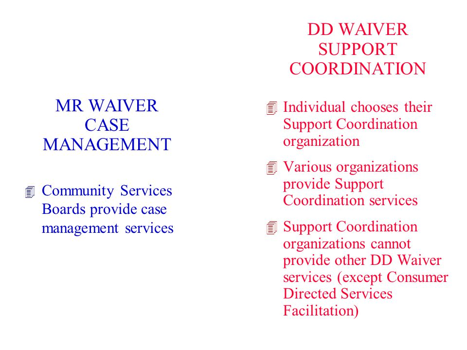 DD WAIVER SUPPORT COORDINATION MR WAIVER CASE MANAGEMENT