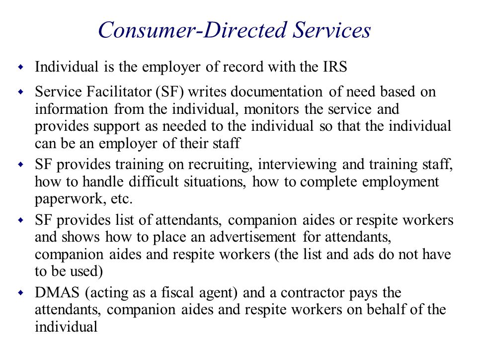 Consumer-Directed Services