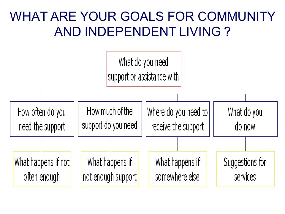 WHAT ARE YOUR GOALS FOR COMMUNITY AND INDEPENDENT LIVING