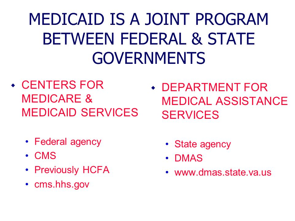 MEDICAID IS A JOINT PROGRAM BETWEEN FEDERAL & STATE GOVERNMENTS