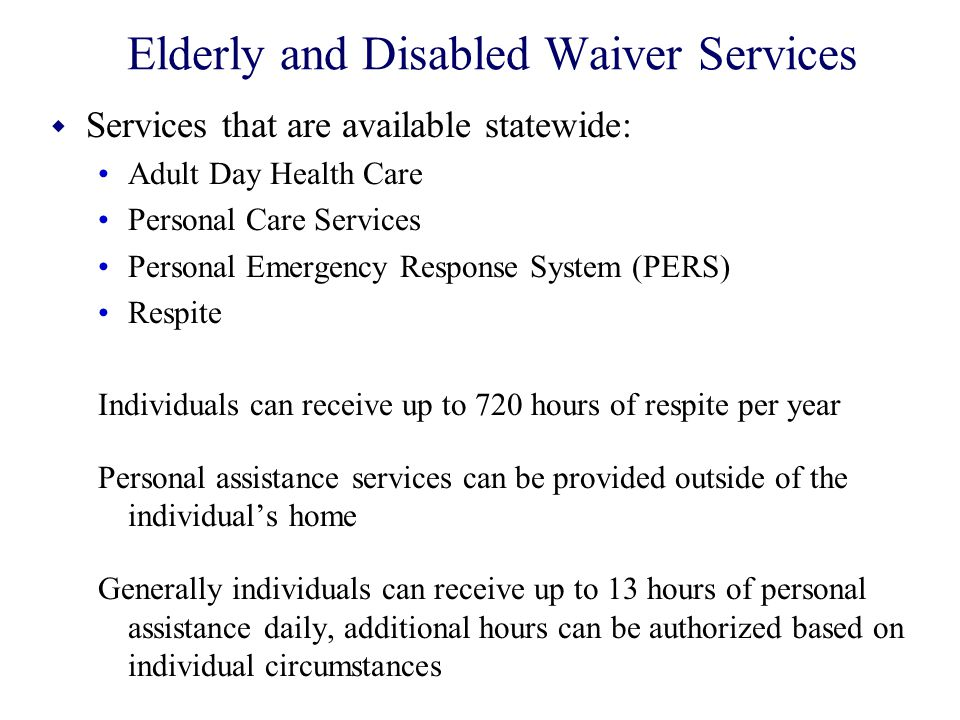 Elderly and Disabled Waiver Services