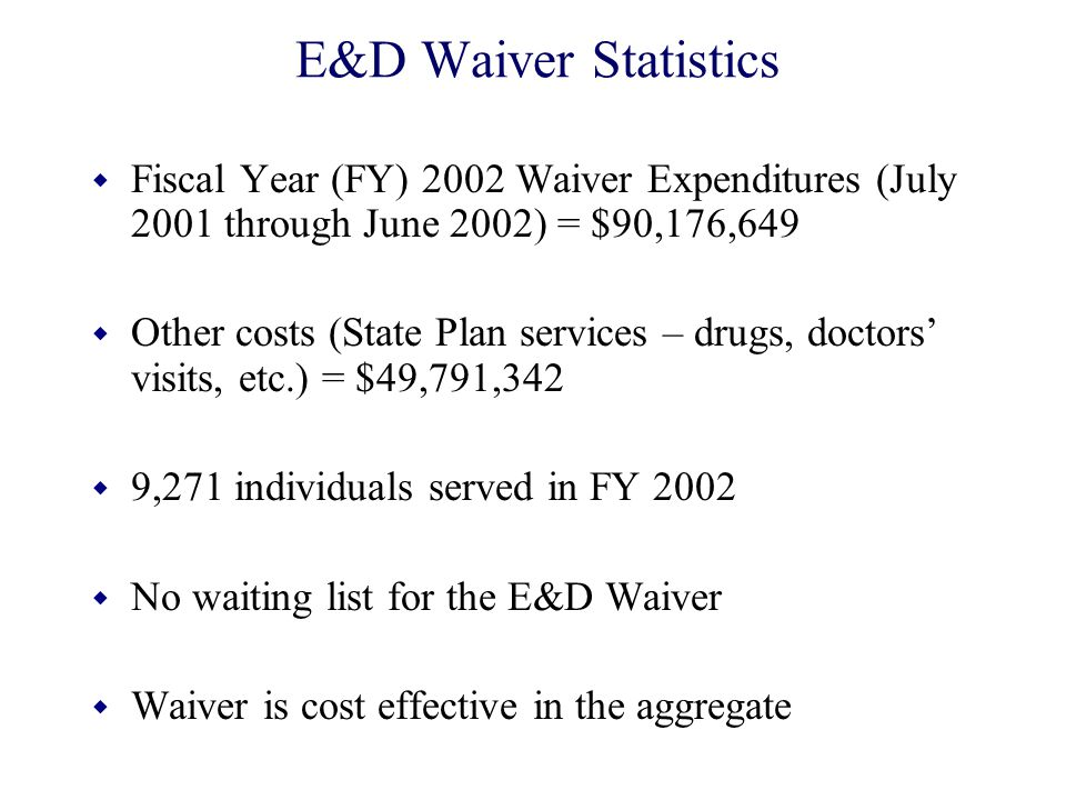 E&D Waiver Statistics Fiscal Year (FY) 2002 Waiver Expenditures (July 2001 through June 2002) = $90,176,649.