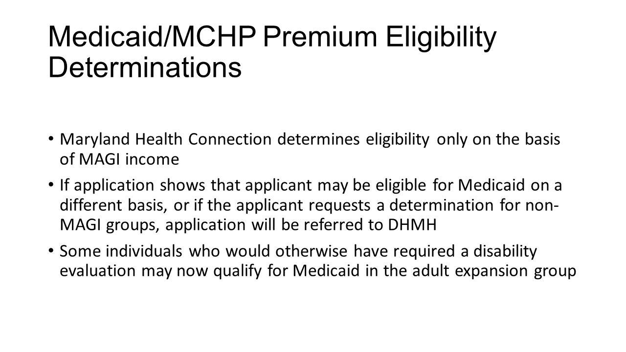 Mchp Premium Eligibility Determinations