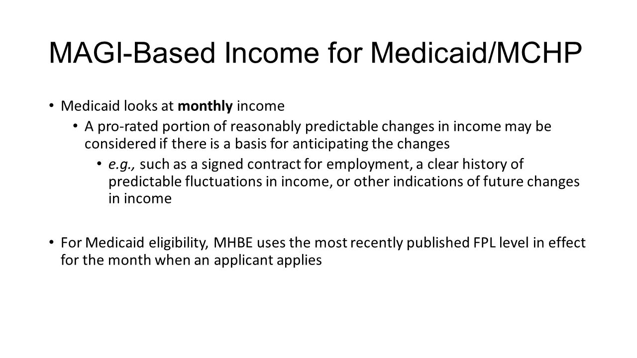 MAGI-Based Income for Medicaid/MCHP