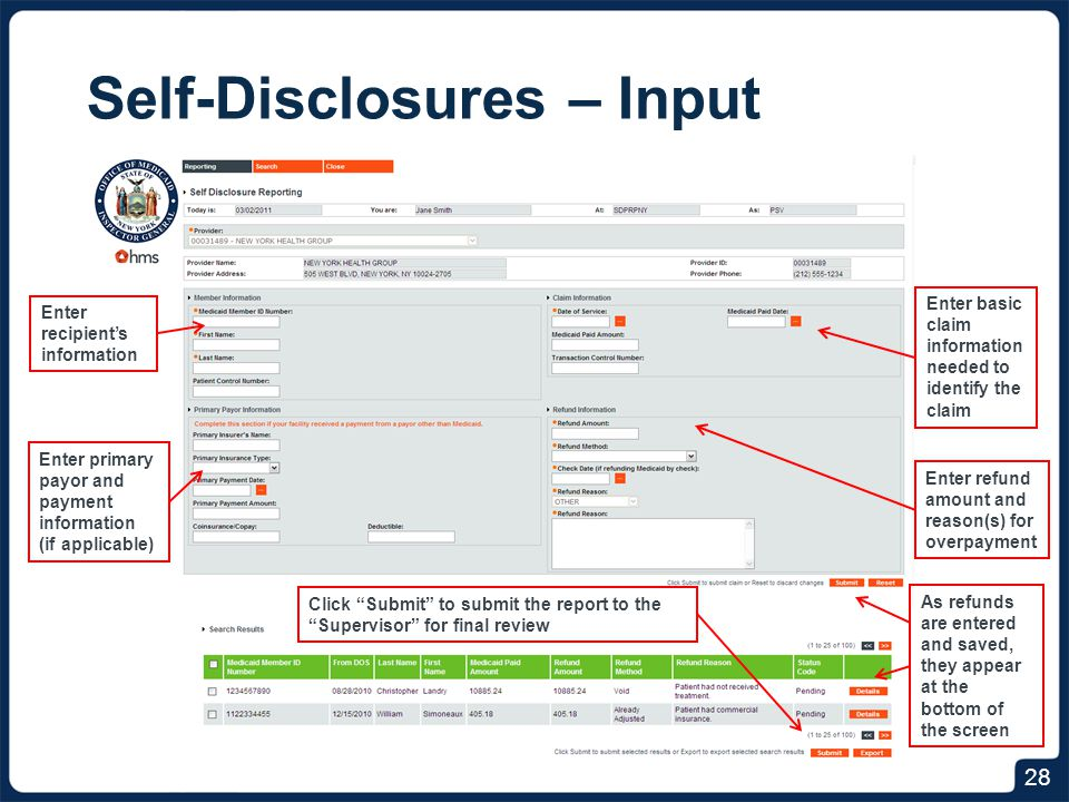 Self-Disclosures – Search
