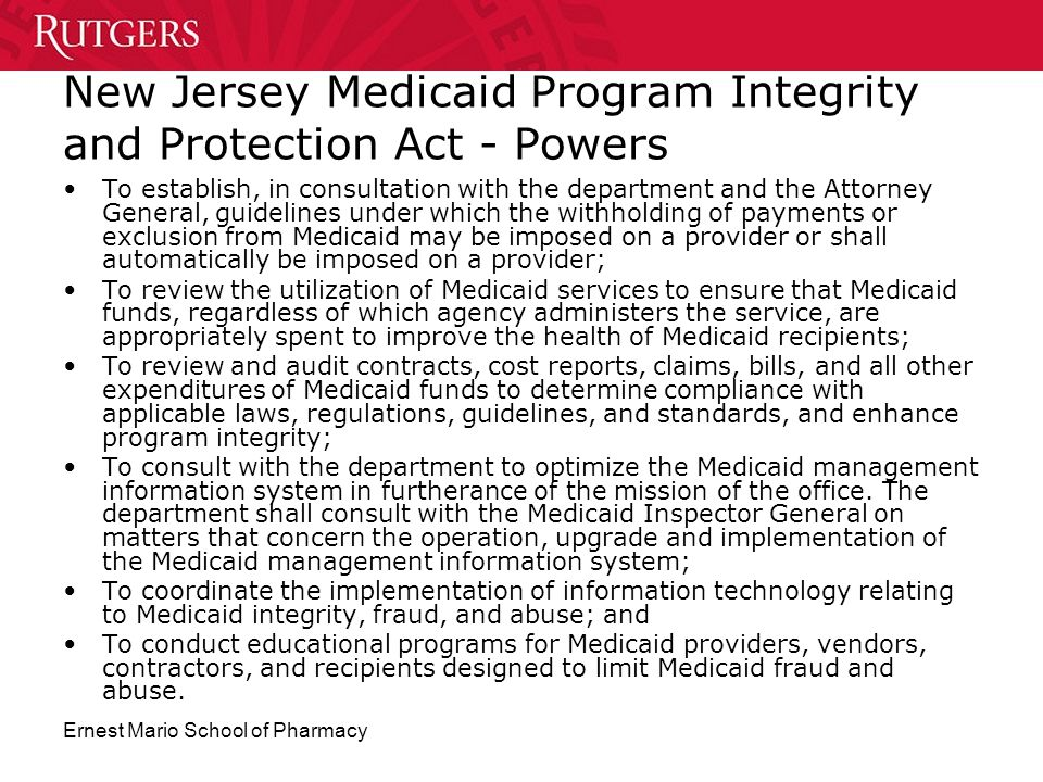 New Jersey Medicaid Program Integrity and Protection Act - Powers