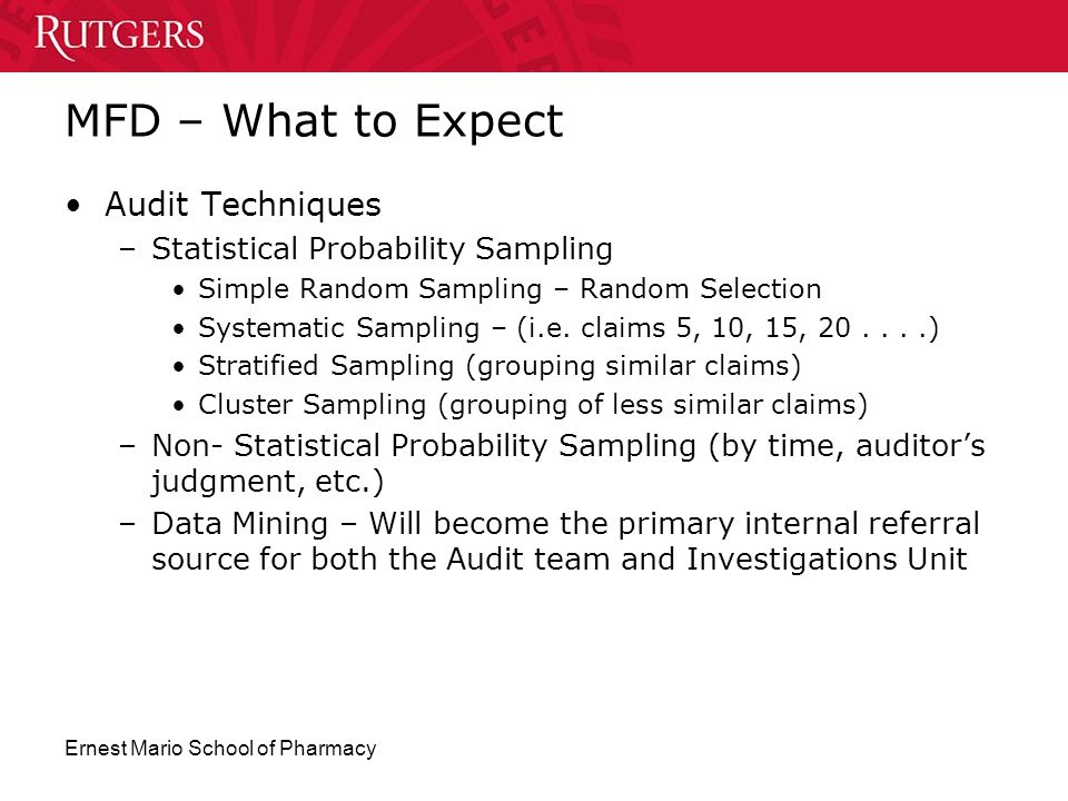 MFD – What to Expect Audit Techniques Statistical Probability Sampling