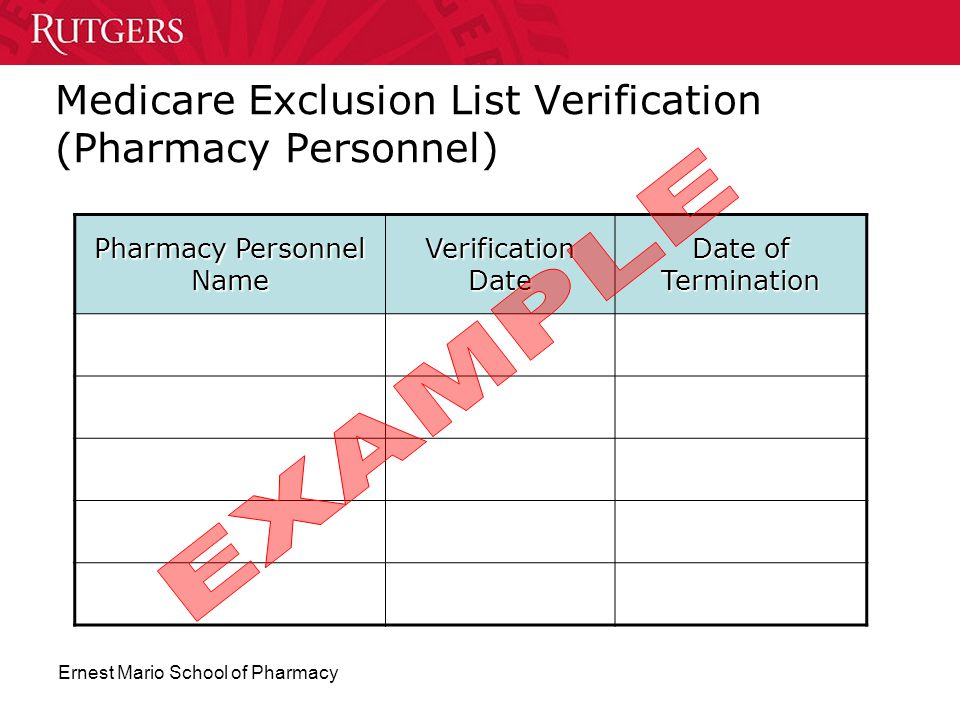 Medicare Exclusion List Verification (Pharmacy Personnel)