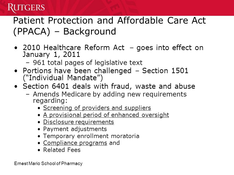 Patient Protection and Affordable Care Act (PPACA) – Background