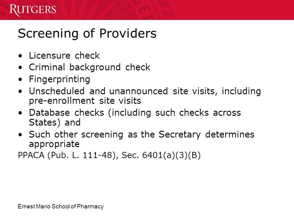Screening of Providers