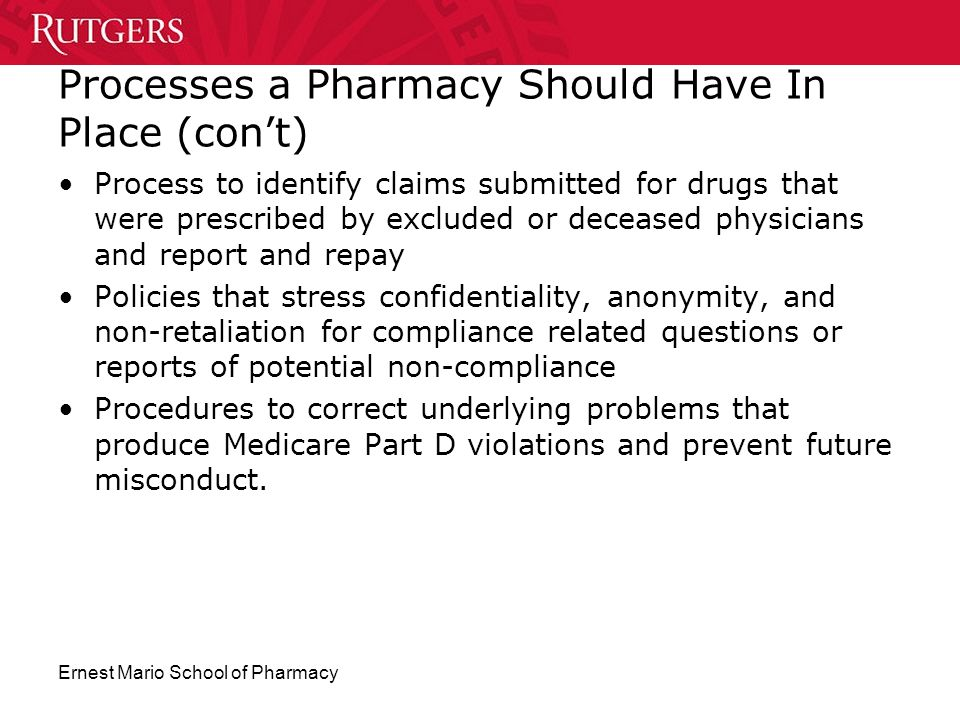 Processes a Pharmacy Should Have In Place (con't)