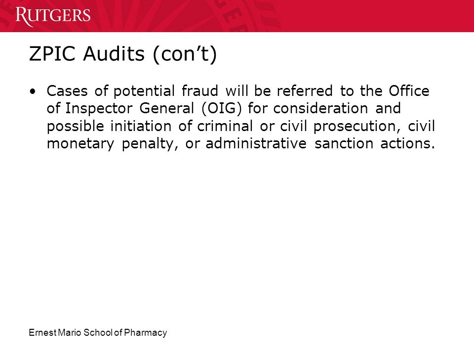 ZPIC Audits (con't)