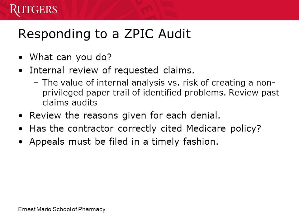 Responding to a ZPIC Audit
