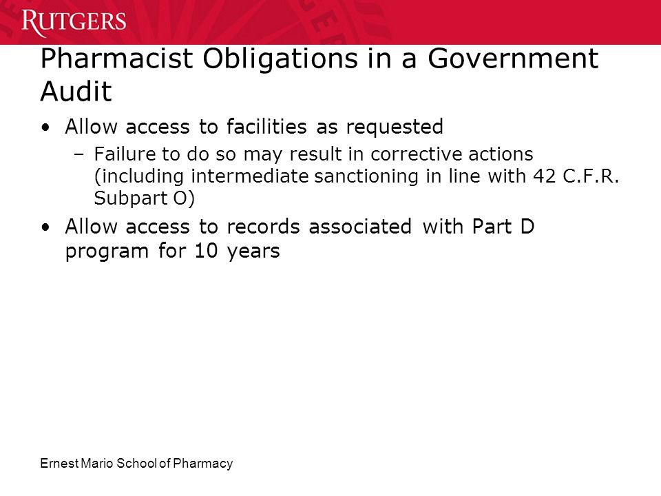 Pharmacist Obligations in a Government Audit