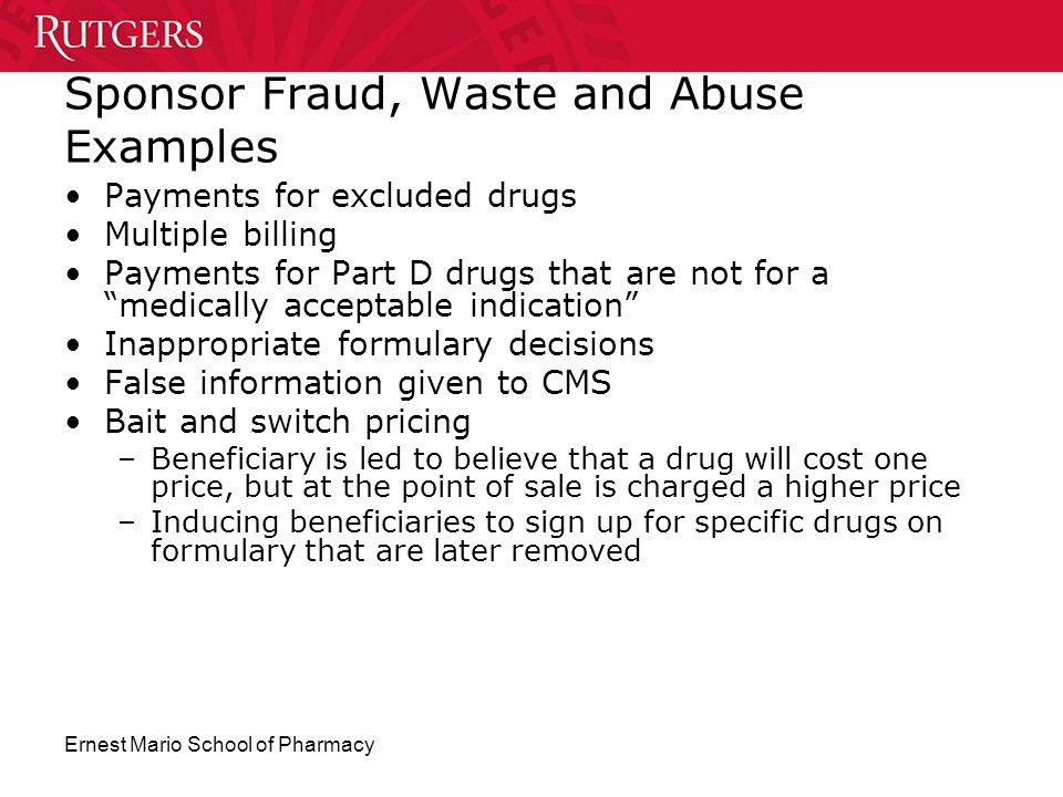 Sponsor Fraud, Waste and Abuse Examples