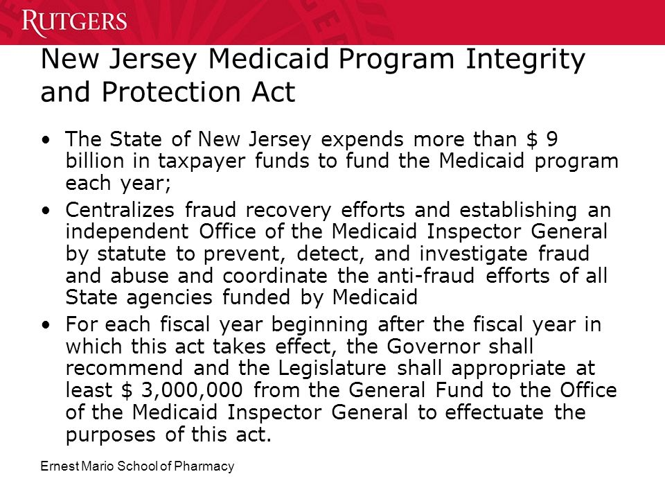 New Jersey Medicaid Program Integrity and Protection Act