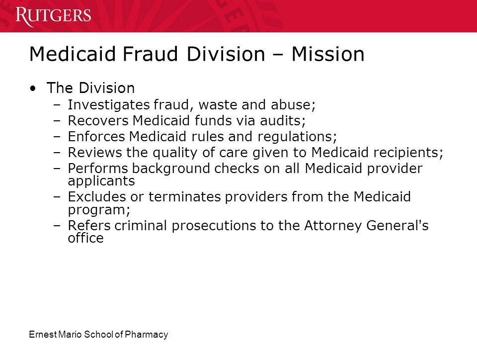 Medicaid Fraud Division – Mission