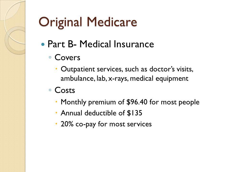Original Medicare Part B- Medical Insurance Covers Costs
