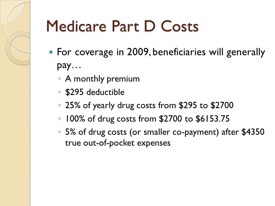 Medicare Part D Costs For coverage in 2009, beneficiaries will generally pay… A monthly premium. $295 deductible.