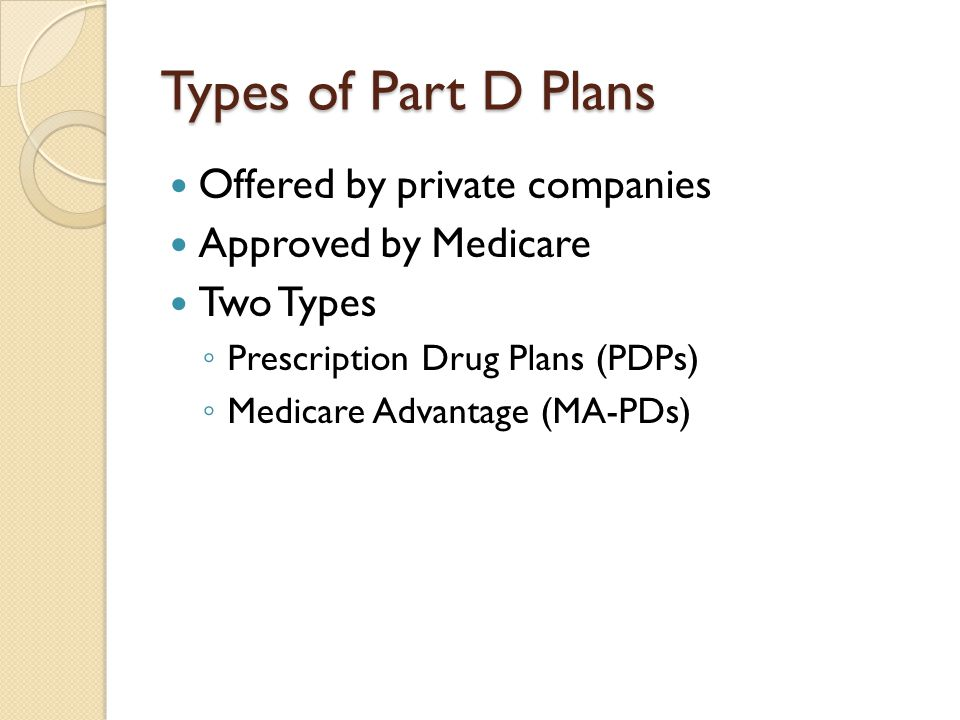 Types of Part D Plans Offered by private companies