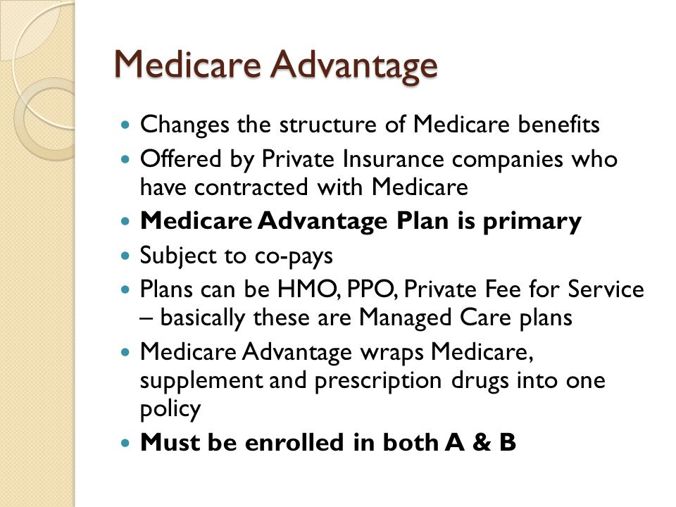 Medicare Advantage Changes the structure of Medicare benefits