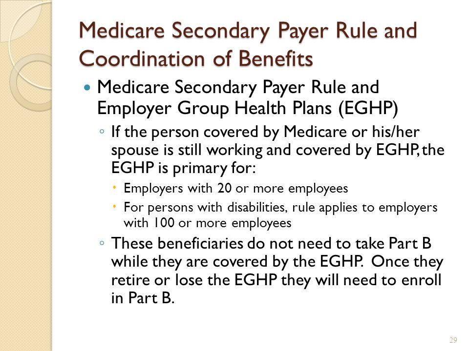 Medicare Secondary Payer Rule and Coordination of Benefits