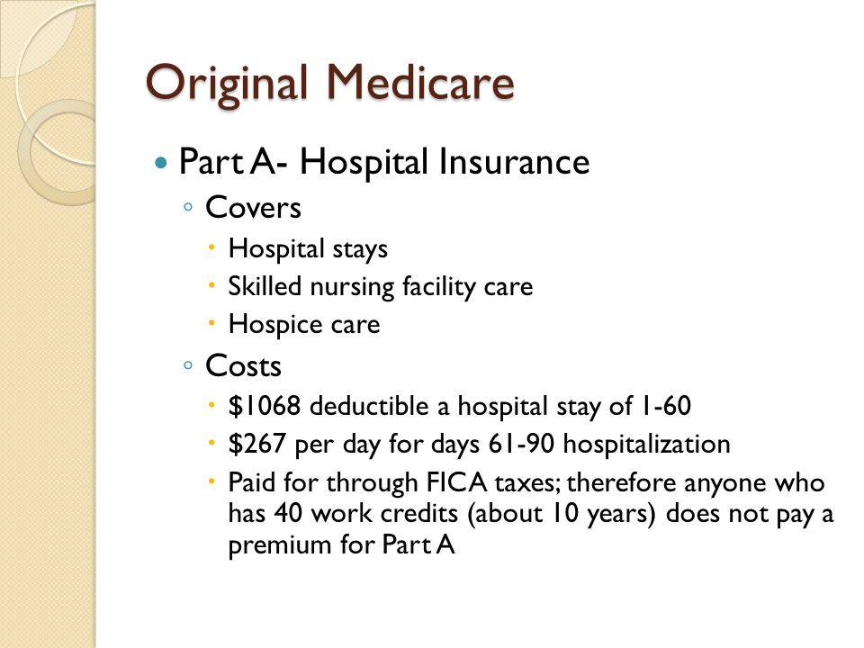 Original Medicare Part A- Hospital Insurance Covers Costs