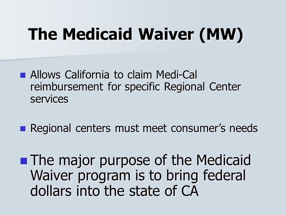 The Medicaid Waiver (MW)