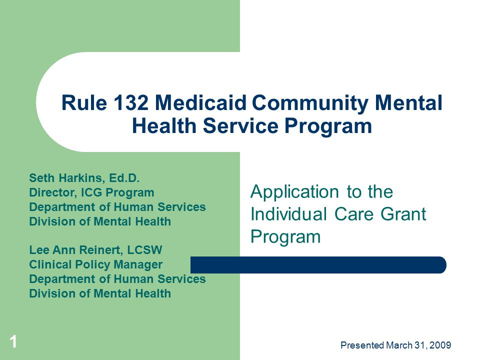 Rule 132 Medicaid Community Mental Health Service Program