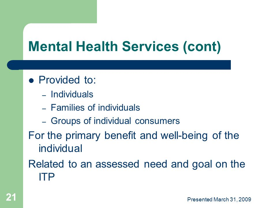 Mental Health Services (cont)