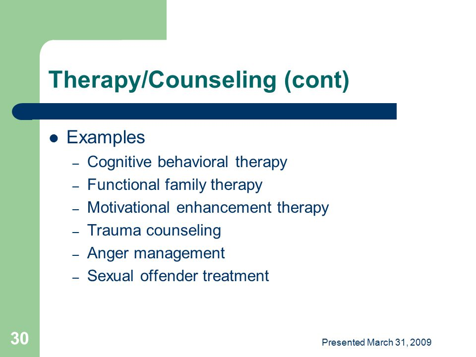 Therapy/Counseling (cont)