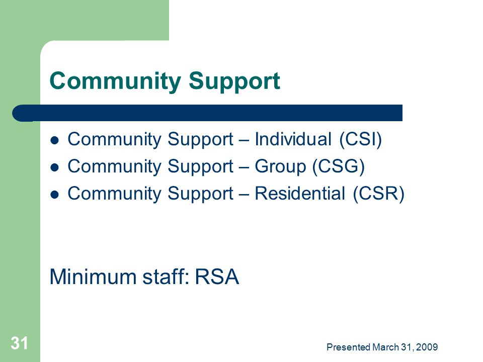 Community Support Minimum staff: RSA