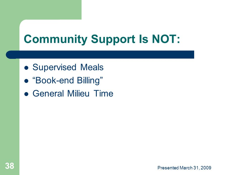 Community Support Is NOT: