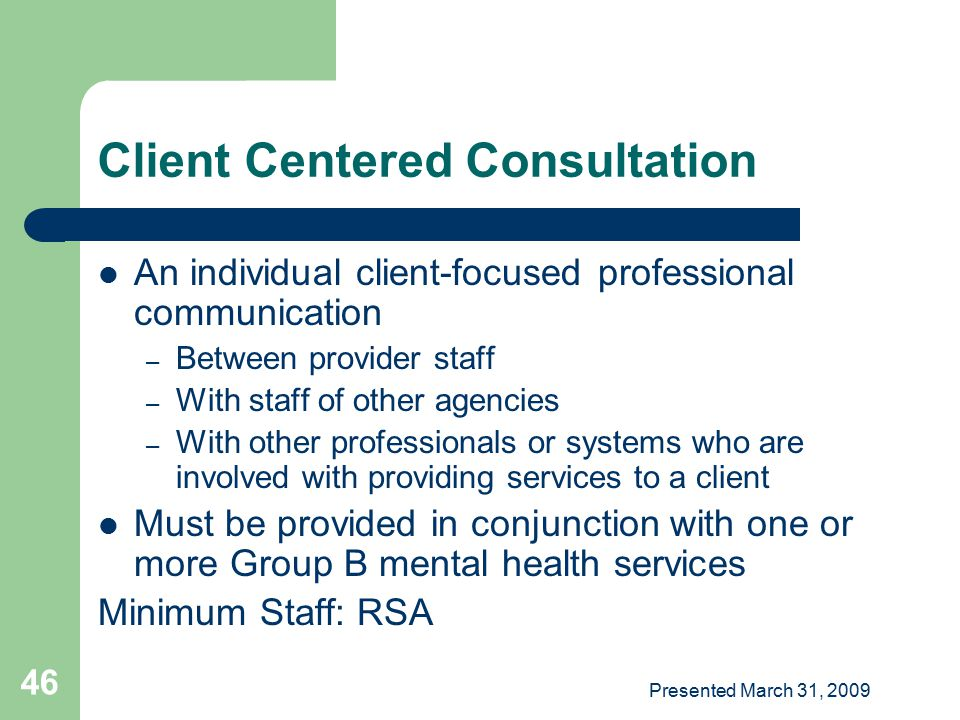 Client Centered Consultation