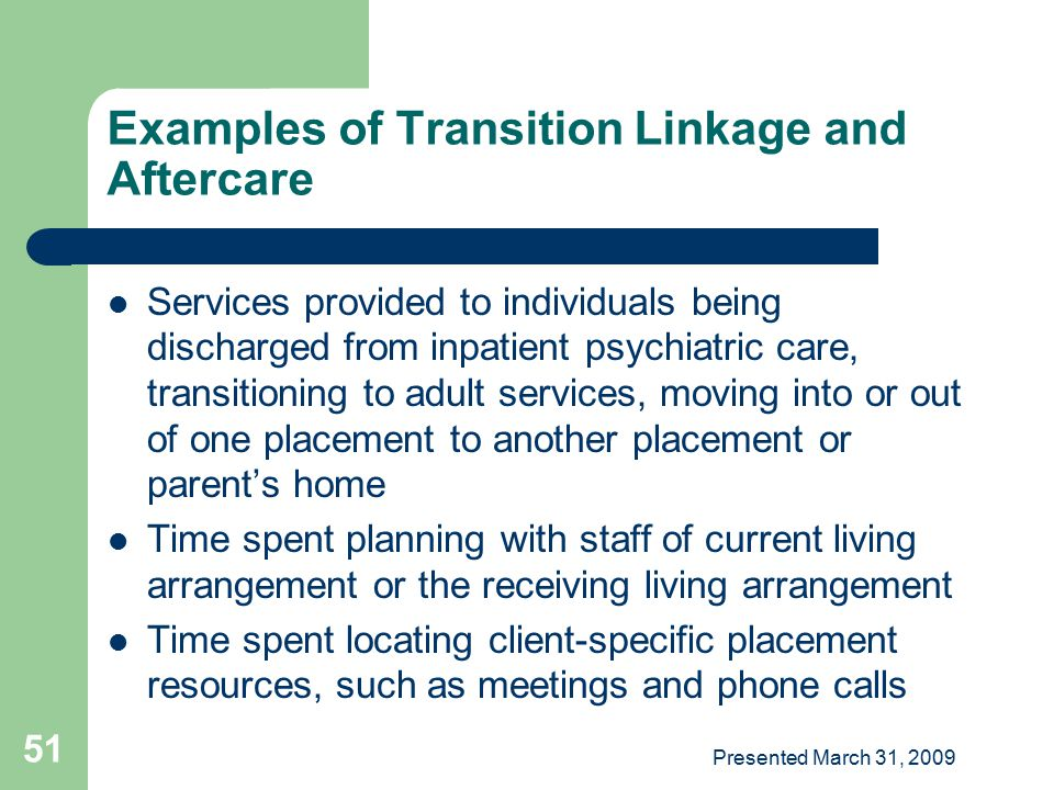 Examples of Transition Linkage and Aftercare