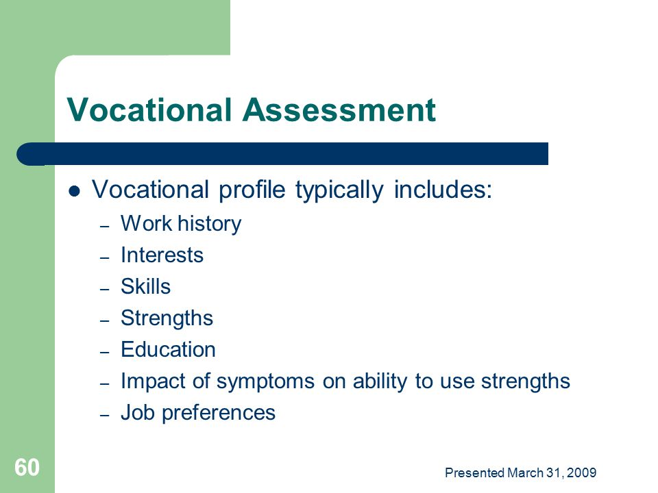 Vocational Assessment
