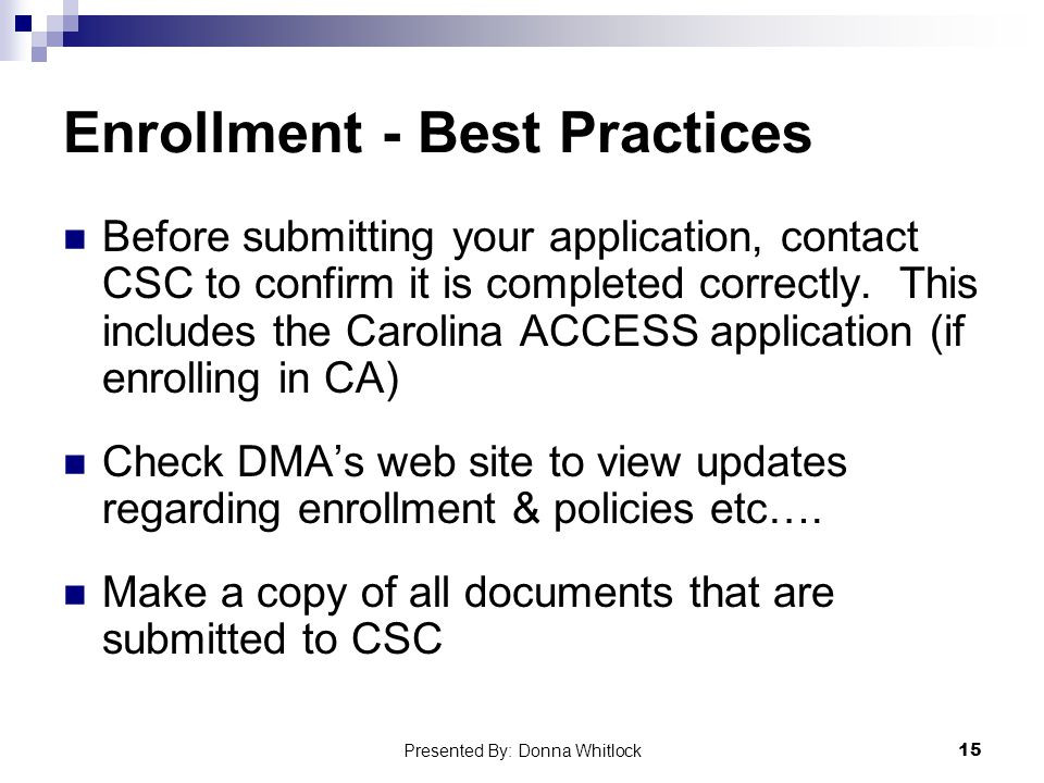 Enrollment - Best Practices