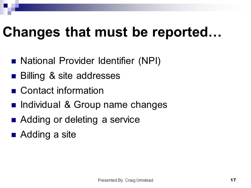 Changes that must be reported…