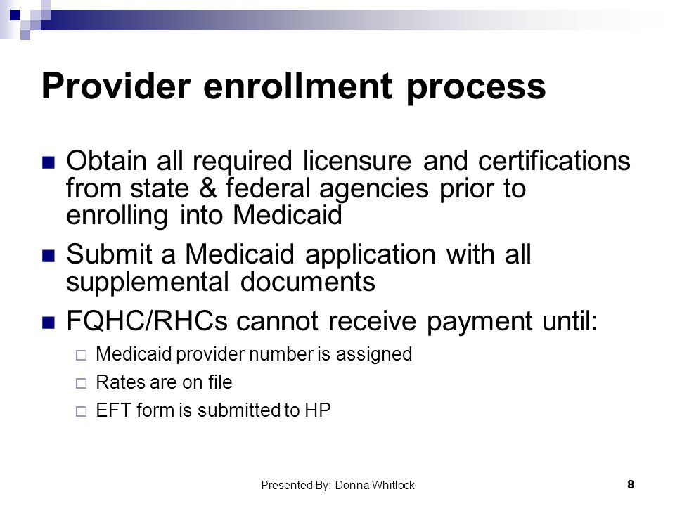 Provider enrollment process